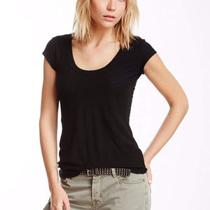 James Perse High Gauge Deep V Cap Sleeve Tee